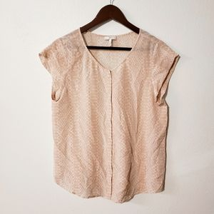 Joie | Silk Blush Pink Snakeskin Blouse